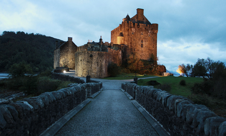 Central alley from Eilean Donan castle at dusk