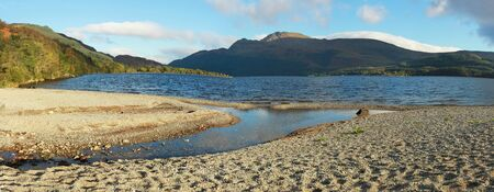 loch lomond: Panorama of the Loch Lomond during the morning in Scotland, UK Stock Photo