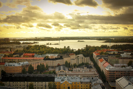 aerial: View of roofs from Helsinki in Finland at sunrise