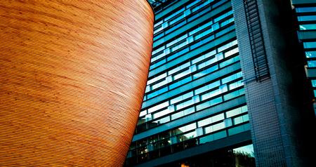 tonalit�: D�tails d'architecture de 2 b�timents avec une texture diff�rente et couleurs Banque d'images