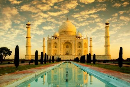 Beautiful Taj Mahal during sunrise, in Agra, India