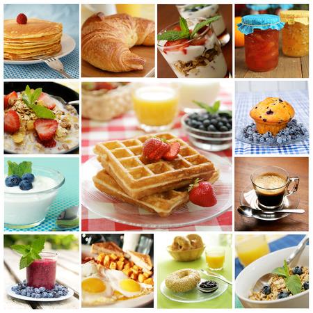 パンケーキ、卵、ベーゲル、ワッフルを含む美味しい朝食のコラージュ