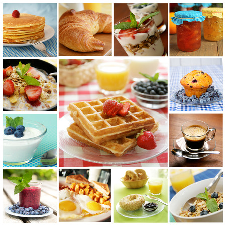 Collage showing delicious breakfast including pancakes, eggs, bagel and  waffles Banco de Imagens