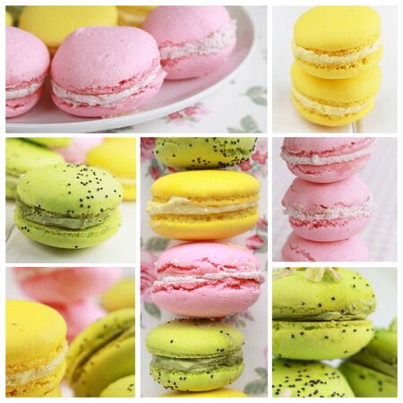 Collage showing three different kind of macarons Stock Photo