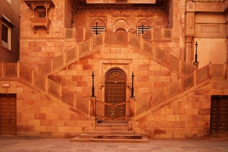symetric: Wall and stairs at Red Forth in Bikaner, Rajasthan, India