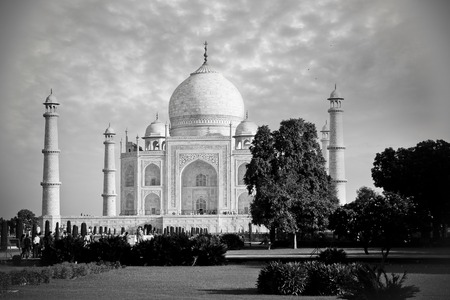 Taj Mahal with a beautiful sky in black and white version, Agra, India Stock Photo