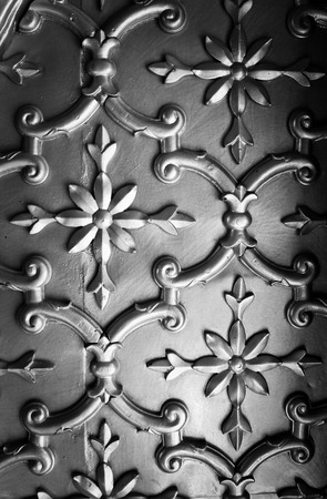 Detail of decorative tin tile ceiling of wall covering