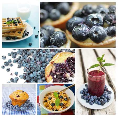 Collage of blueberry dessert, breakfast and smoothie Stockfoto