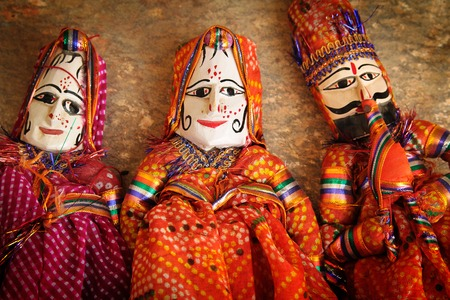 puppets: Three traditional indians puppets of rajasthan, India