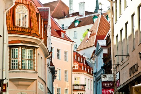 Beautiful roofs of the old city from Tallin, Estonia photo