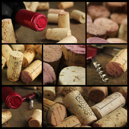 Collage showing bottle of wine, cork and opener