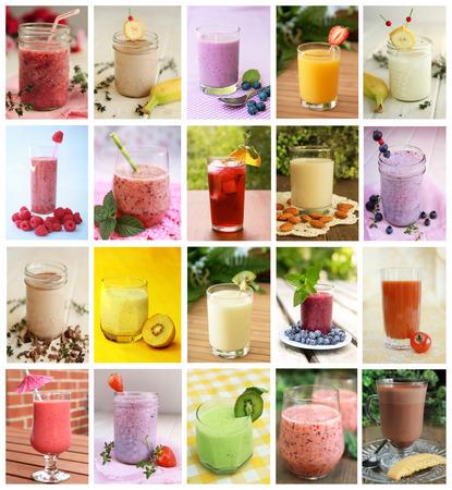 batidos frutas: Collage que demuestra differents beben como batidos, leche y jugos Foto de archivo