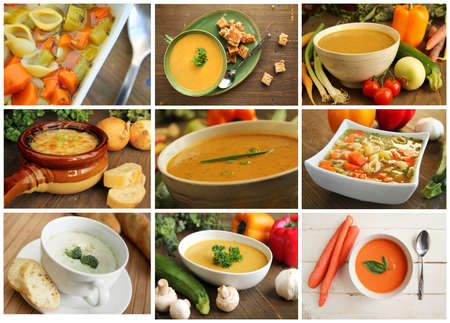 potage: Collage showing different kind of soup like vegetables, carrot, onion