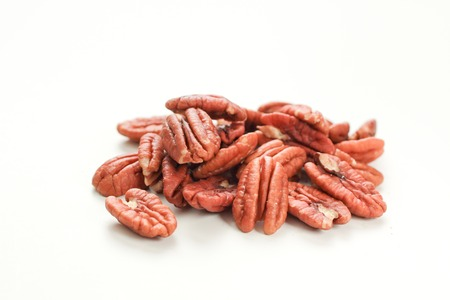 pecan: Bunch of Pecan on a white background