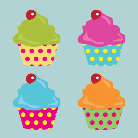Four cupcakes in various colors.