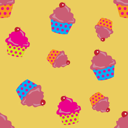 cute cupcakes seamless background