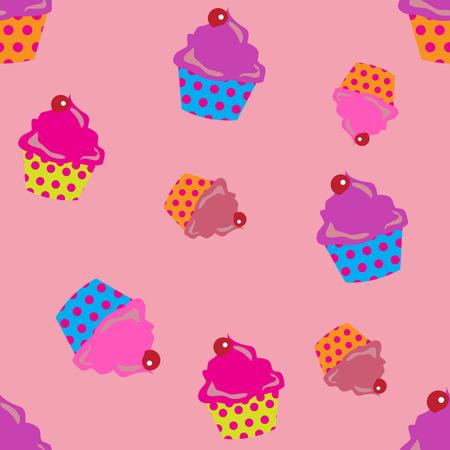 cute cupcakes seamless background. Illusztráció