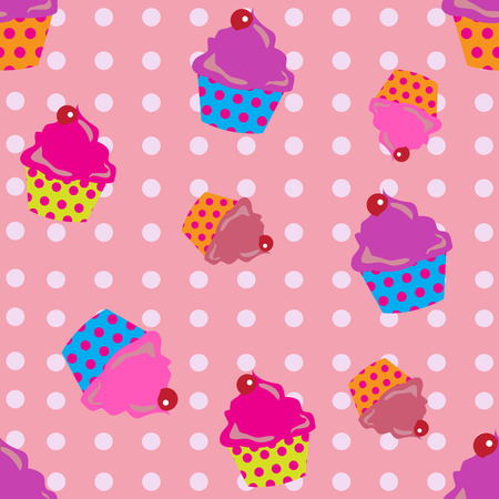 cute cupcakes seamless with polka dots background. Stok Fotoğraf - 31433996