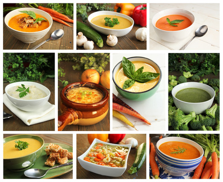 Collage showing different kind of soups Stock Photo
