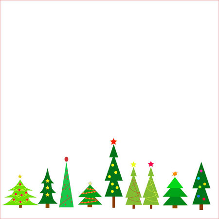 Row of different christmas trees on a white background.