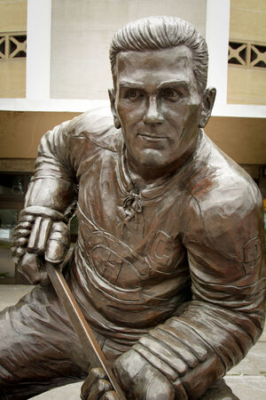 richard: MONTREAL CANADA AUGUST 20: Close up of a statue of Maurice Richard also named the rocket, famous hockey player in Canadian national hockey team . Editorial