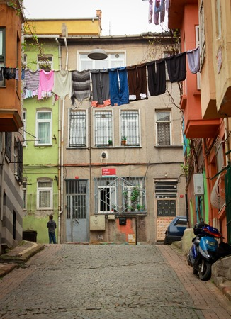 jewish home: Clotheline in the street of istanbul,Turkey Editorial