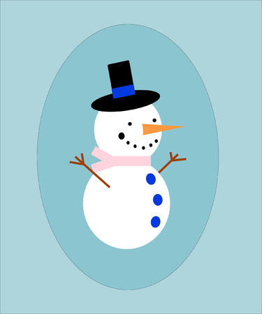 Snowman with black hat and carrot in a blue frame. EPS vector format. Vector