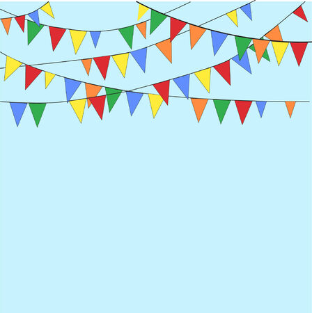 Colorful flags on light blue background.  EPS10 vector format.