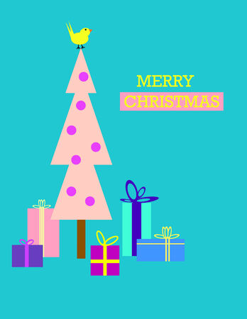 fuschia: Five gifts under a pink christmas tree with a yellow bird on top and merry christmas message. Turquoise background. EPS vector format.