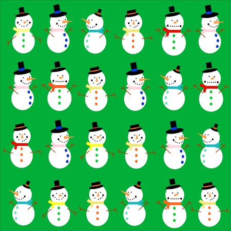 Different happy snowmen on a green background Vector