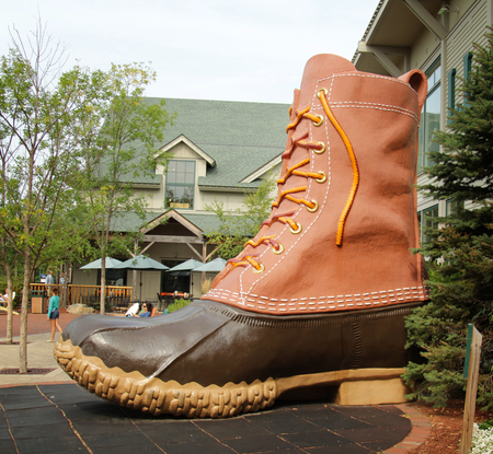 freeport: FREEPORT, MAINE, august 31 2014:  L.L.Bean.  boot at the entrance of this, leading merchant of quality outdoor gear and has been open 24 hours a day since 1951. Editorial