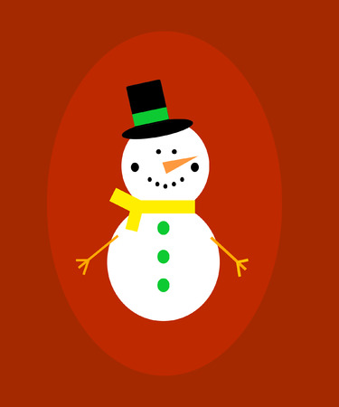 Snowman with black hat and carrot in a red frame.  Vector