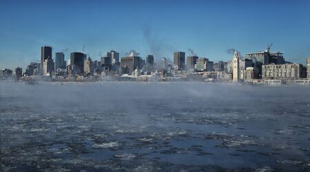 lawrence: Montreal by a very cold day. St-Lawrence river with steam on it with downtown Montreal in background in Quebec province in Canada Stock Photo