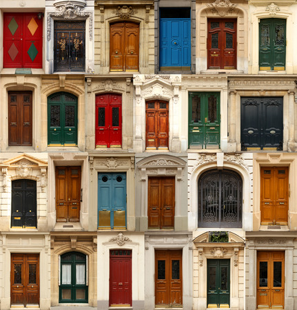 frontage: Collage of old and colorful doors from Paris, France.