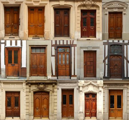 Collage de viejas puertas de madera de Europa Foto de archivo - 37918150