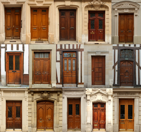 Collage of old wooden doors from Europe
