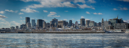 very cold: Montreal by a very cold day. St-Lawrence river with ice with downtown Montreal in background
