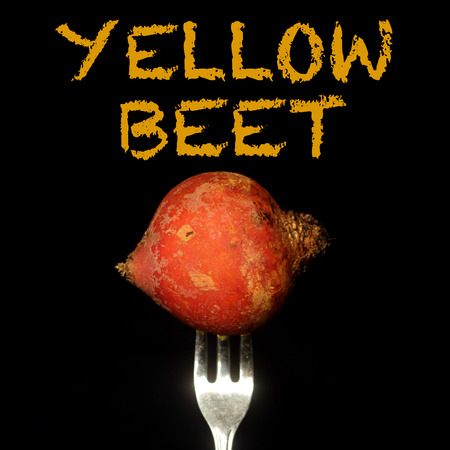 Yellow beet on a fork on a black background Stock Photo