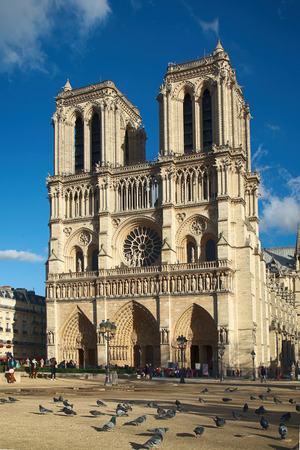 cathedrale: PARIS, FRANCE, MARCH 02 2015: Front view of Cathedrale Notre Dame de Paris in Paris, France.