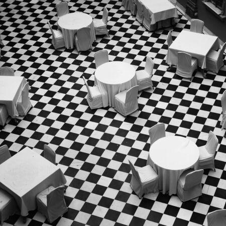 dinning room: Black and white dinning room