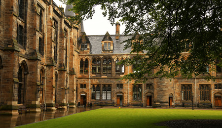 university building: Architectural detail from inner court of the university of Glasgow, Scotland Editorial
