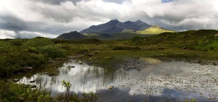 qui: Beautiful view of the Cuillin mountain on the isle of Skye, Scotland qui is an old volcano