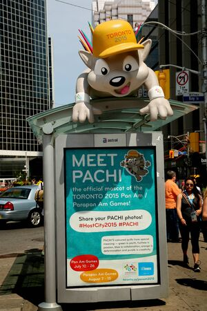 cityspace: TORONTO CANADA JULY 2015: Mascot of theToronto panamerican game principal site at Nathan Phillips square in Toronto, Canada.