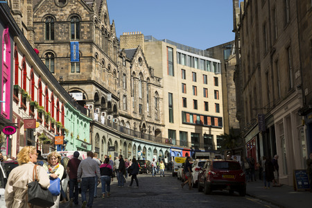 fronts: Victoria Street in Edinburgh, ict with historic architecture, elegant and colorful shop fronts curve is one of the citys MOST picturesque locations.
