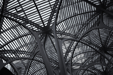 hockey: TORONTO, CANADA, JULY 10, 2015:  Architectural detail of Brookfield place.  Brookfield Place is also the home of the Hockey Hall of Fame and offices.  Black and white picture.