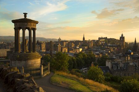 scott monument: View of Edinburgh city and Scott monument during sunset hour from Carlton Hill