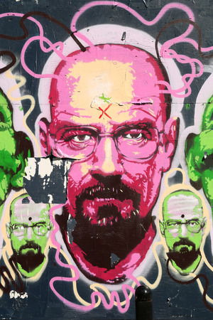 design bad: MONTREAL, CANADA, JUNE 3, 2015:  Breaking bad graffiti in pink.  Festival mural is a popular festival of street art which is a really popular art in Montreal.