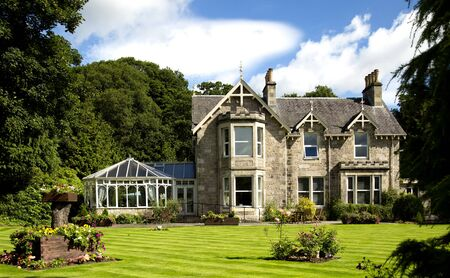 stone of destiny: The Victorian Scots Baronial architecture of many of  buildings in Highland Perthshire. Scottish Baronial architecture has its origins in the sixteenth century.
