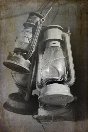 Very old oil lamps with texture.  Cross processed to look like and used and instant picture.