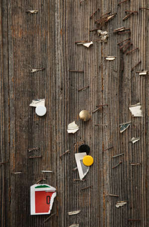 staple: Staple and pushpins in a grunge wall